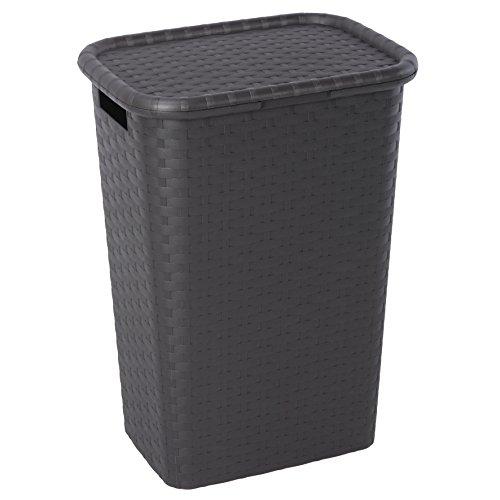 Braun u2013 Wäschekorb Wäschebox Wäschetruhe Wäschekiste Wäschesammler Wäschetonne mit Deckel  ~ 01163202_Wäschekorb Plastik Mit Deckel