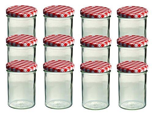 12er set sturzglas 435 ml marmeladenglas einmachglas einweckglas to 82 rot karrierter deckel. Black Bedroom Furniture Sets. Home Design Ideas