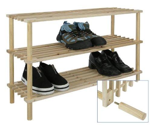 holz schuhregal schuhablage schuhschrank schuhst nder helles holz 3 etagen aimnexa. Black Bedroom Furniture Sets. Home Design Ideas