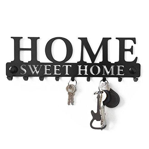 schl sselbrett 9 haken home sweet home metall garderobe schl sselleiste hakenleiste schwarz. Black Bedroom Furniture Sets. Home Design Ideas