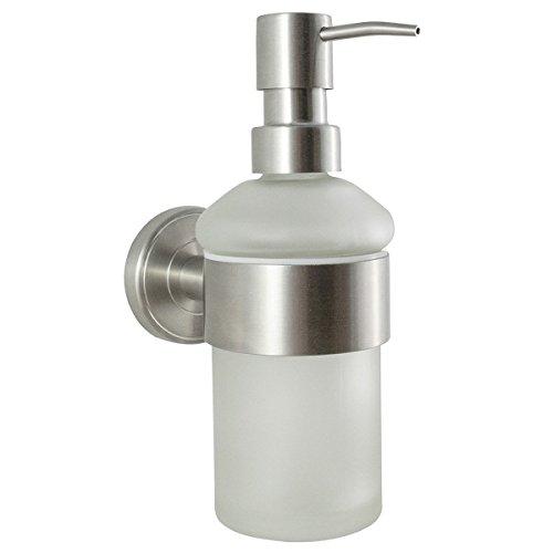 Badserie ambiente wc garnitur wc b rste toilettenb rste aus satiniertem glas und robustem - Wc burste wandmontage ...