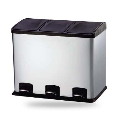 36 liter design treteimer abfalleimer m lleimer edelstahl ausf hrung trennsystem 3x 12. Black Bedroom Furniture Sets. Home Design Ideas