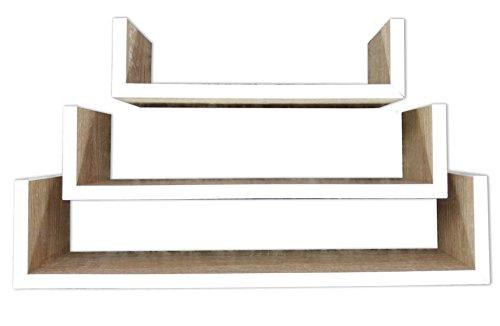 khevga wandregal holz 3er set natur aimnexa. Black Bedroom Furniture Sets. Home Design Ideas