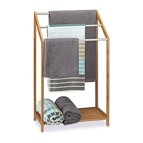 relaxdays handtuchhalter bambus 3 handtuchstangen freistehend ablage modern hxbxt 85 x 51. Black Bedroom Furniture Sets. Home Design Ideas
