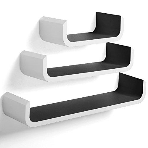 woltu rg9273sz wandregal u form cd dvd regal b cherregal wandboard 3er set retro h ngeregal. Black Bedroom Furniture Sets. Home Design Ideas