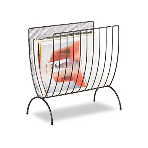 relaxdays zeitungsst nder metall zeitungshalter stehend zeitschriftensammler schwarz hxbxt. Black Bedroom Furniture Sets. Home Design Ideas