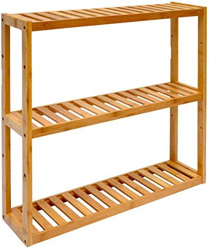 dunedesign wandregal 54x60x15cm bambus bad regal 3 f cher holz ablage badezimmer h ngeregal. Black Bedroom Furniture Sets. Home Design Ideas