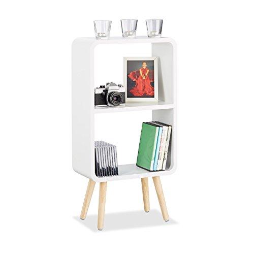 relaxdays standregal mit 2 f chern schmales mdf b cherregal ohne schubladen wohnzimmer regal. Black Bedroom Furniture Sets. Home Design Ideas